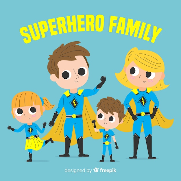 クリエイティブなスーパーヒーロー家族のコンセプト 無料ベクター
