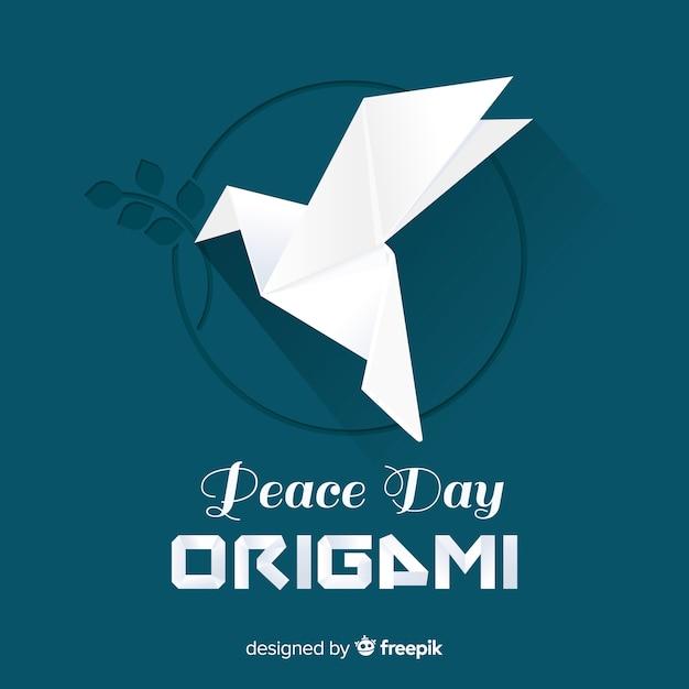 折り紙の鳩で平和の日の背景 無料ベクター