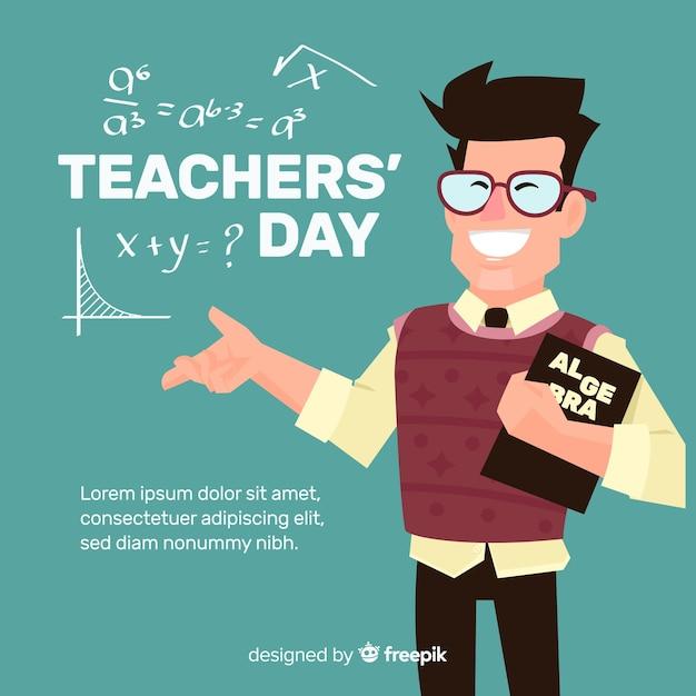 Учитель день фон с улыбкой учителя Бесплатные векторы