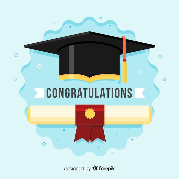 フラットデザインの卒業式と卒業証書 無料ベクター