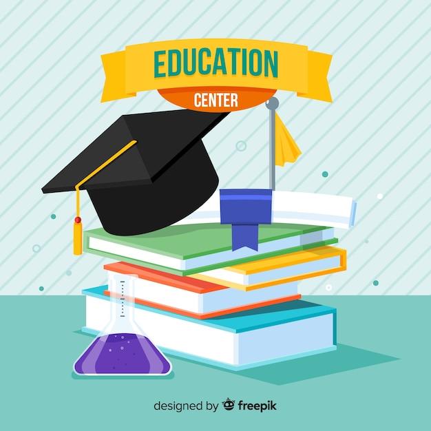 フラットデザインの現代教育概念 無料ベクター
