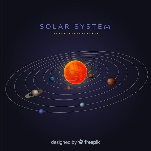 現実的なデザインのエレガントなソーラーシステムスキーム 無料ベクター