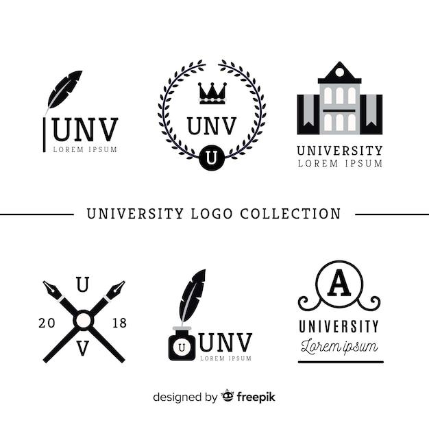 平らな大学のロゴのコレクション 無料ベクター