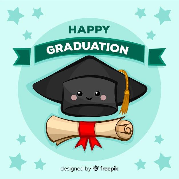 手描きの卒業の帽子と卒業証書 無料ベクター