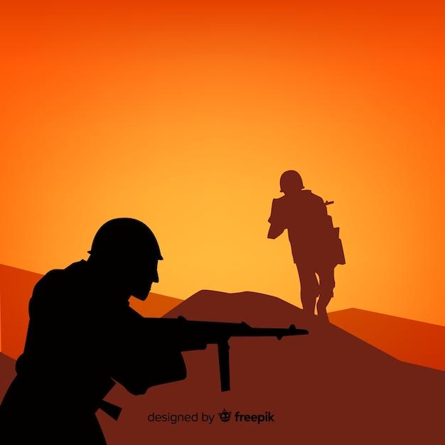 兵士のシルエットと戦争の背景 無料ベクター
