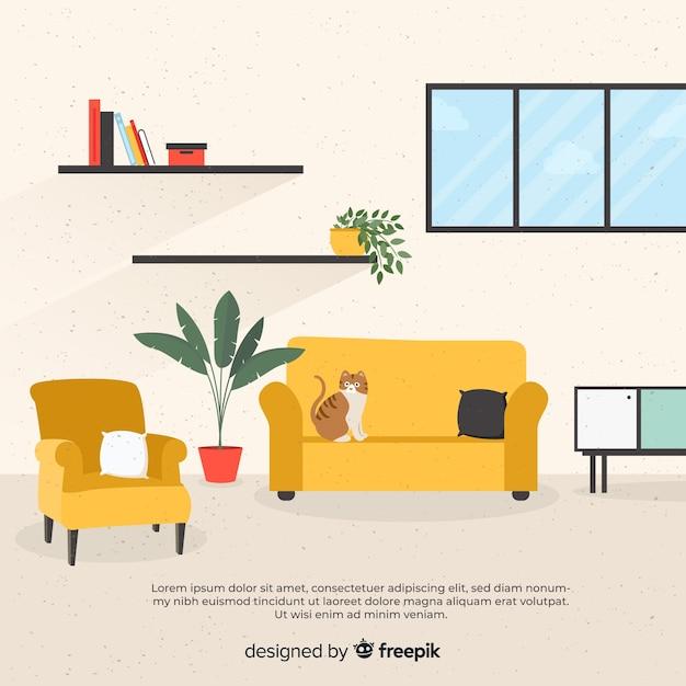 Элегантный интерьер гостиной с плоским дизайном Бесплатные векторы