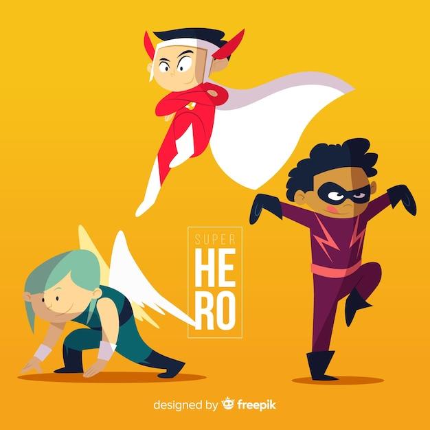 Пакет детей, одетых в супергероев Бесплатные векторы