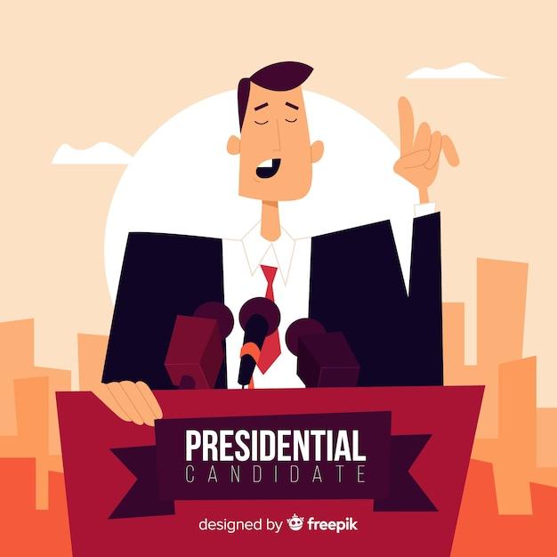平らなデザインの大統領選挙の構成 無料ベクター