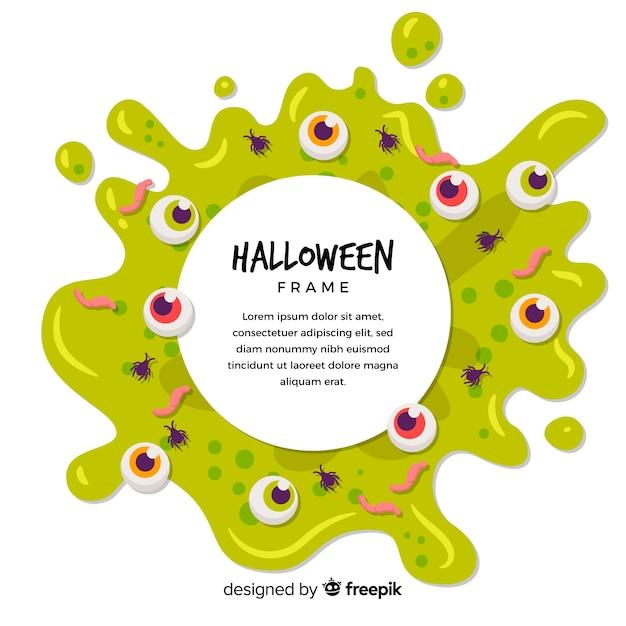 Жуткая рамка хэллоуина с плоским дизайном Бесплатные векторы