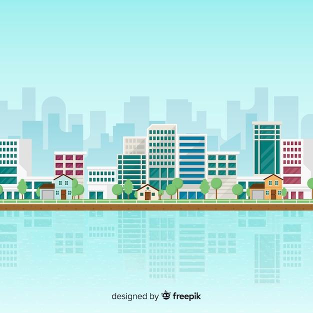 Плоский городской пейзаж с офисными зданиями Бесплатные векторы