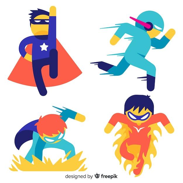 Коллекция детей супергероев Бесплатные векторы