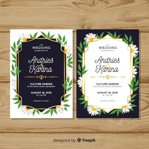 花のウェディングカードのテンプレートとゴールデンフレーム 無料ベクター