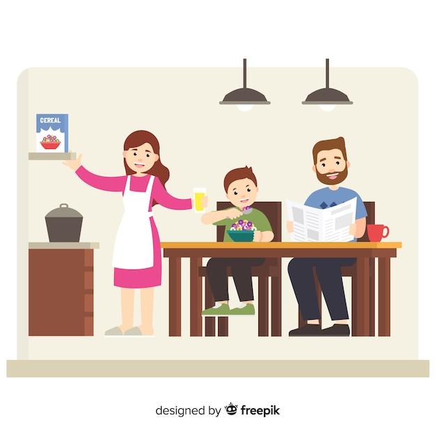フラットデザインの家庭で幸せな家庭 無料ベクター