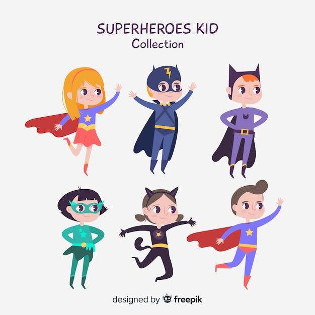 スーパーヒーローの子供のセット 無料ベクター