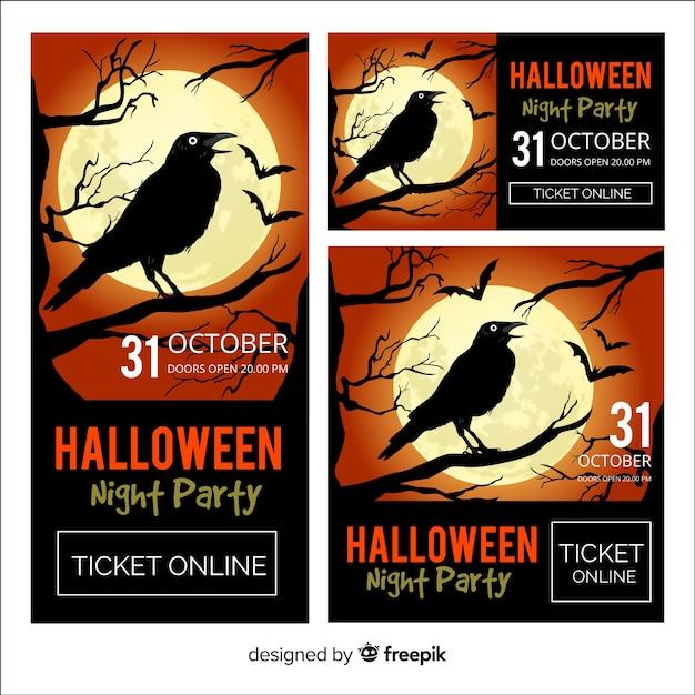 Красочные баннеры хэллоуина с реалистичным дизайном Бесплатные векторы