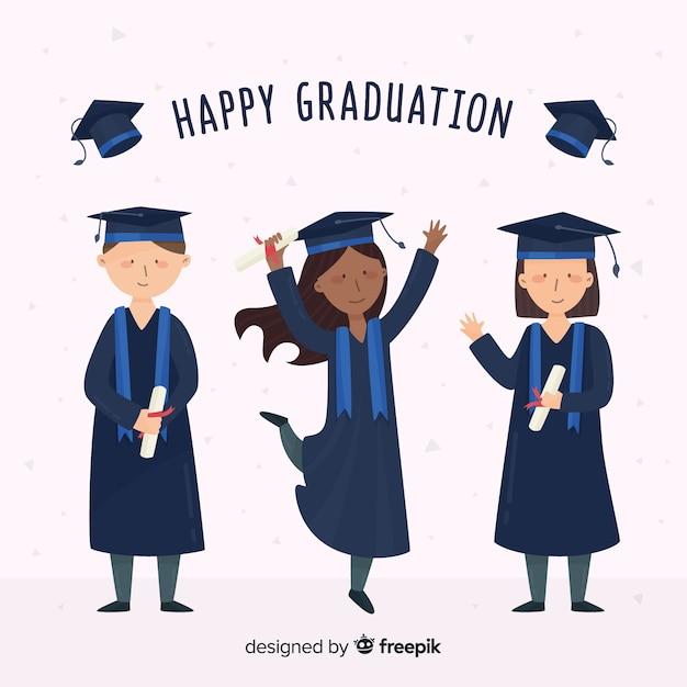 卒業生を祝う幸せな学生 無料ベクター