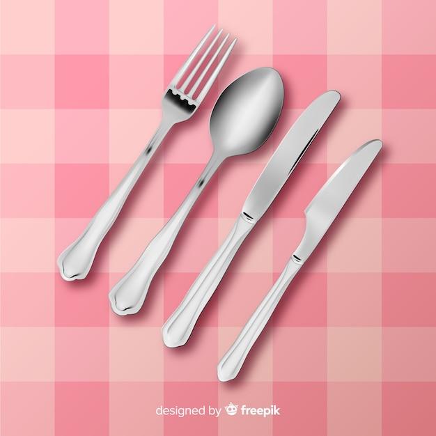 現実的なデザインのレストランカトラリーのトップビュー 無料ベクター