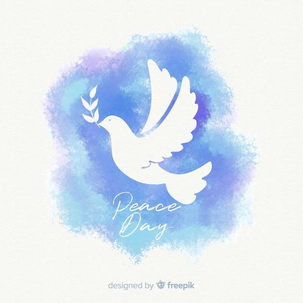 素敵な鳩と水彩画の平和の日の構成 無料ベクター