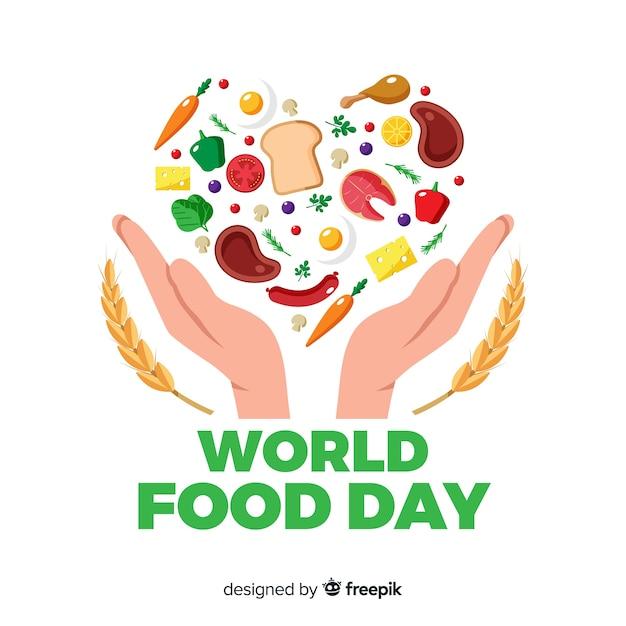 現代の世界の食品の日の背景のコンセプト 無料ベクター