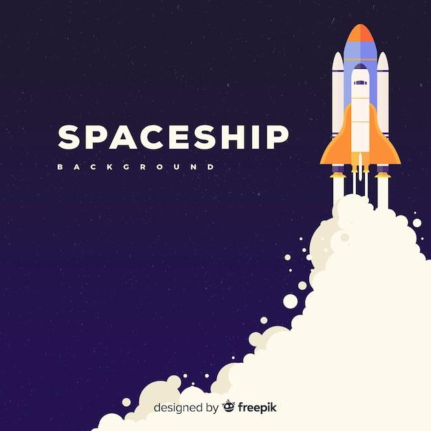フラットデザインのモダンな宇宙船の背景 無料ベクター