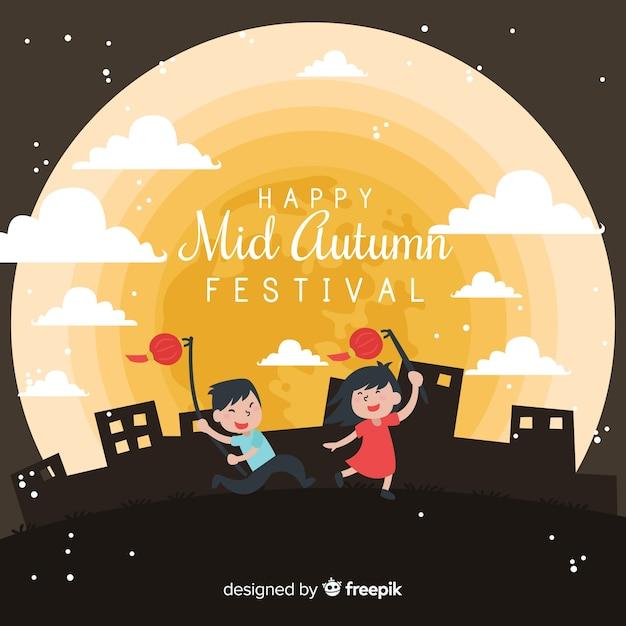モダンな秋のフェスティバルの背景デザイン 無料ベクター