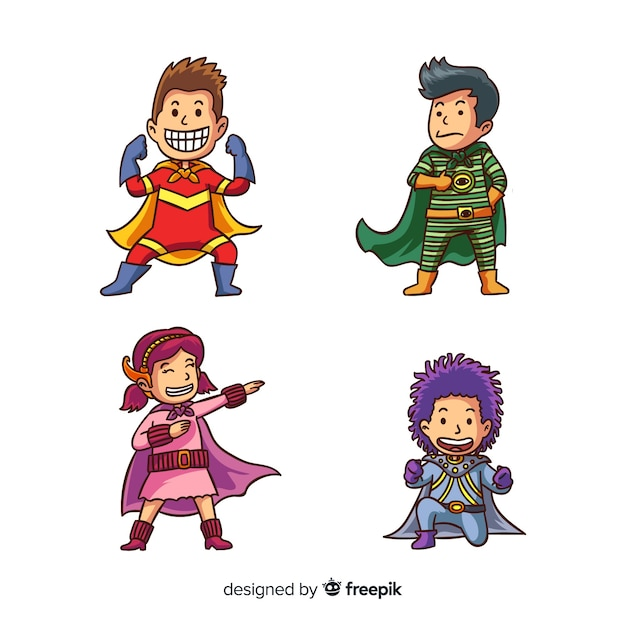 Набор супергероев Бесплатные векторы