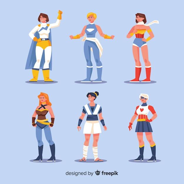 フラットデザインの女性スーパーヒーローキャラクターコレクション 無料ベクター