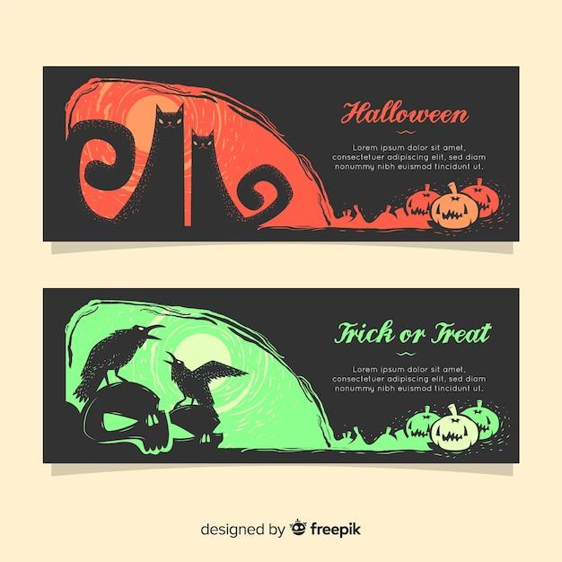 Территориальные баннеры хэллоуина с плоским дизайном Бесплатные векторы