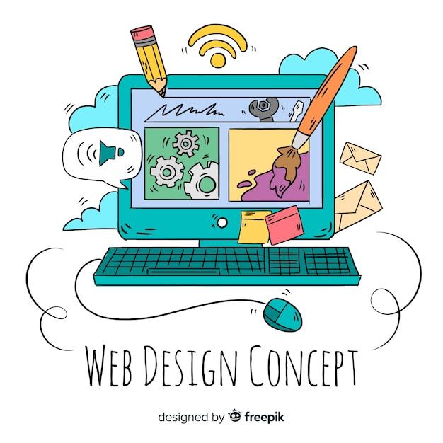 Современная концепция веб-дизайна ручной работы Бесплатные векторы