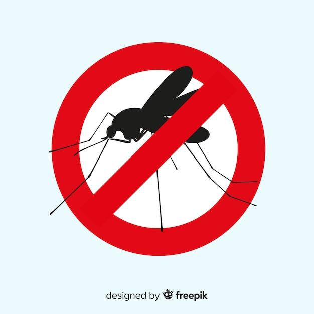 Предупреждающий знак москита с плоской конструкцией Бесплатные векторы