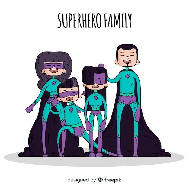 Семейный фон мультфильма супергероя Бесплатные векторы