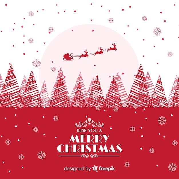 フラットデザインと素敵なクリスマスの背景 無料ベクター