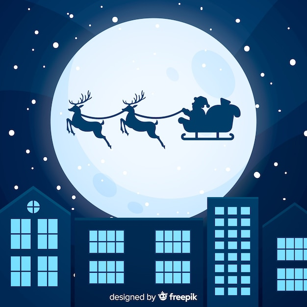 フラットデザインのカラフルなクリスマスの背景 無料ベクター