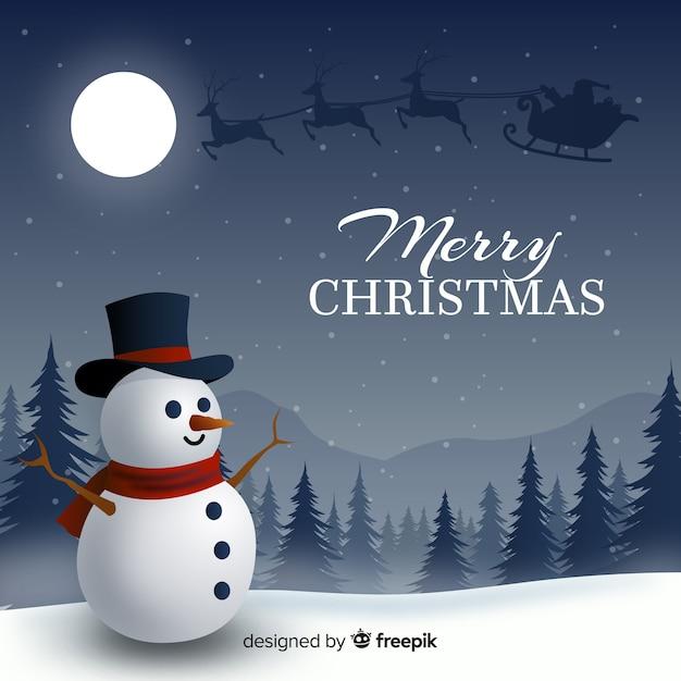 現実的なデザインと素敵なクリスマスの背景 無料ベクター