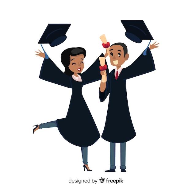 幸せな学生と卒業コンセプト 無料ベクター