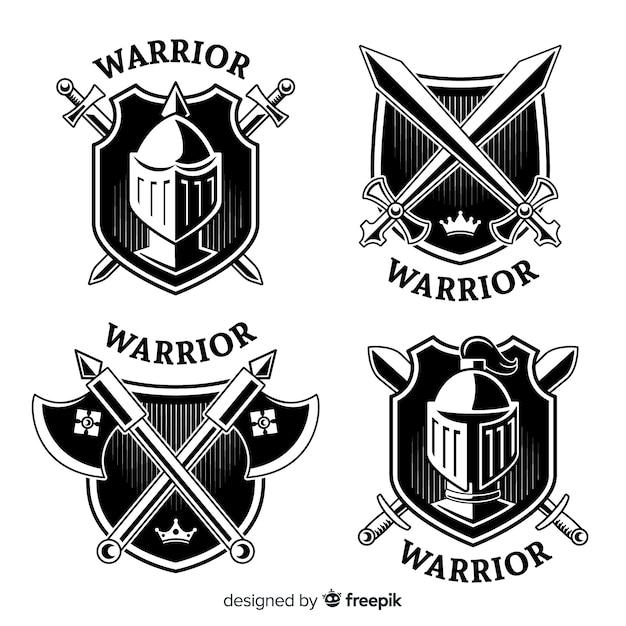 Коллекция логотипов современных воинов Бесплатные векторы