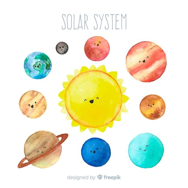 素敵な水彩ソーラーシステム 無料ベクター
