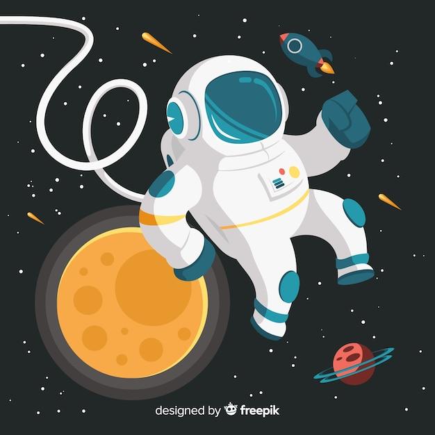 クリエイティブ宇宙飛行士のデザイン 無料ベクター