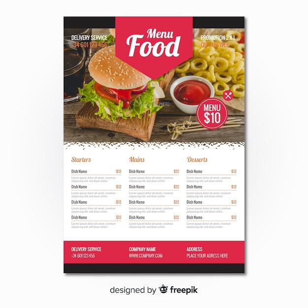 モダンなハンバーガーレストランのフライヤーテンプレート 無料ベクター