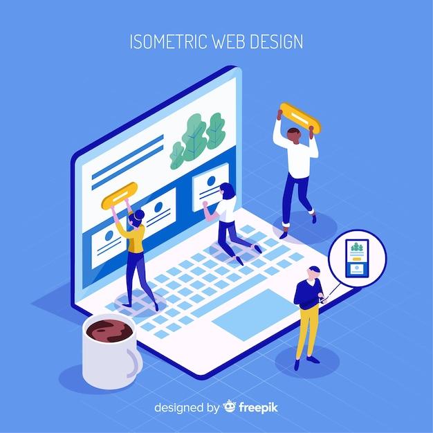 Современная концепция веб-дизайна с изометрическим представлением Бесплатные векторы