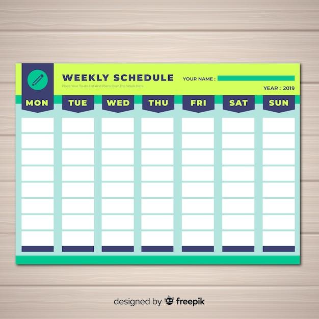 平面デザインのカラフルな週単位スケジュールテンプレート 無料ベクター