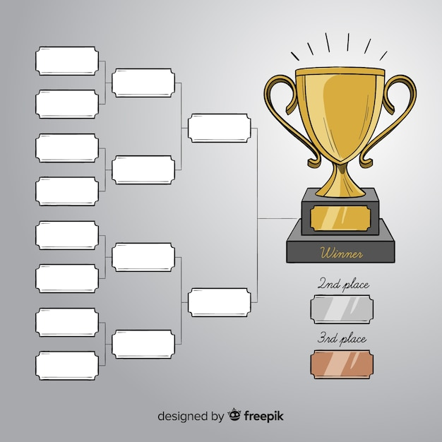 現代手描きのトーナメントスケジュール 無料ベクター
