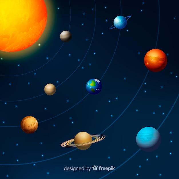 現実的な設計による太陽系計画 無料ベクター