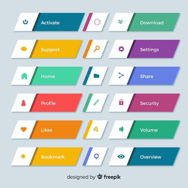 Красочная коллекция кнопок веб-дизайна с плоским дизайном Бесплатные векторы