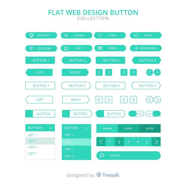 フラットデザインの現代ウェブデザインボタンコレクション 無料ベクター