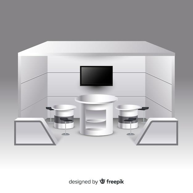 現実的なデザインのモダンスタンド 無料ベクター