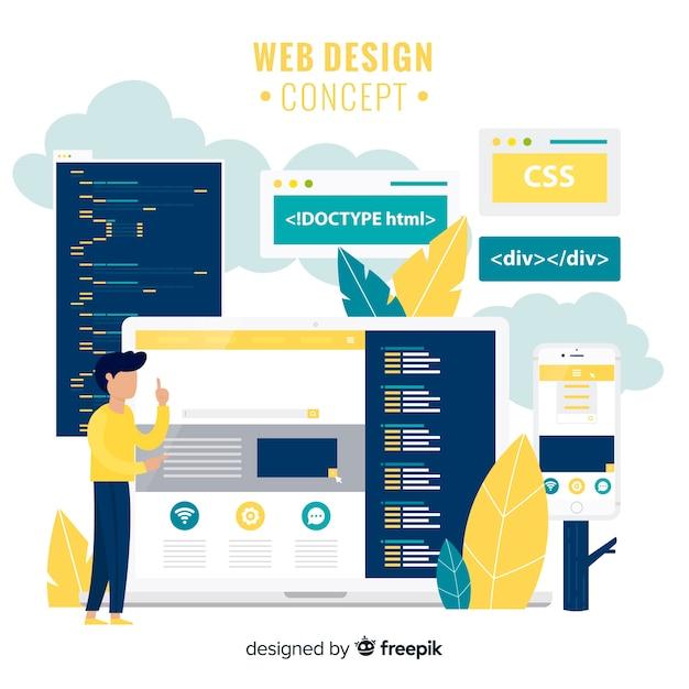 現代手描きのウェブデザインコンセプト 無料ベクター
