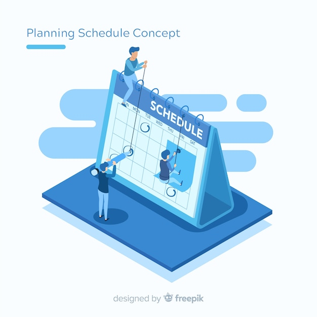 アイソメの視点によるスケジュール計画のコンセプト 無料ベクター