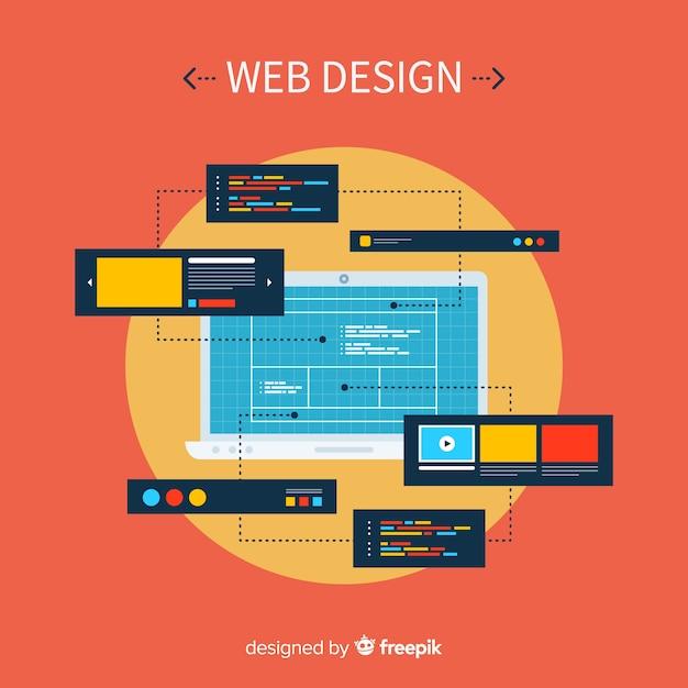 Современная концепция веб-дизайна с плоским стилем Бесплатные векторы