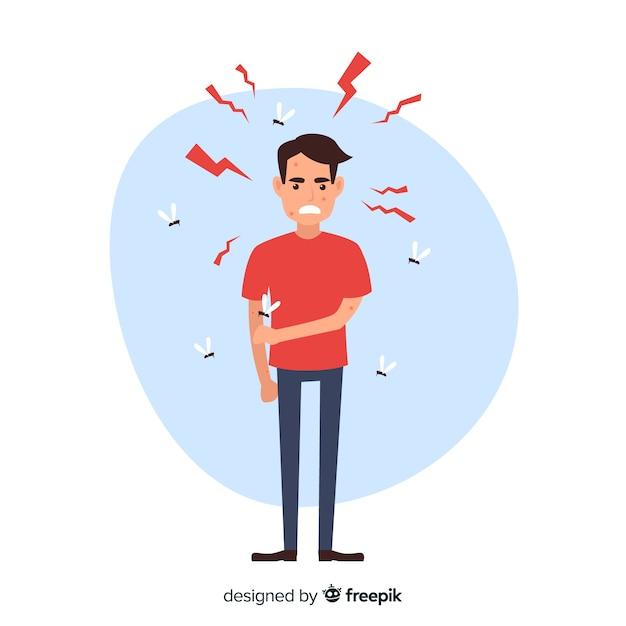 フラットデザインの人を噛むモスキート 無料ベクター